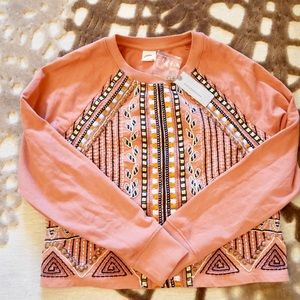 Anthropologie NWT Embellished Rose Pink Sweater
